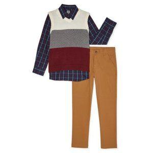 Wonder Nation Sweater Vest Shirt Twill Pants Set